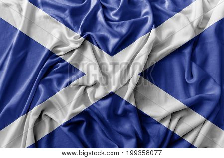 Ruffled waving Scotland flag national flag close