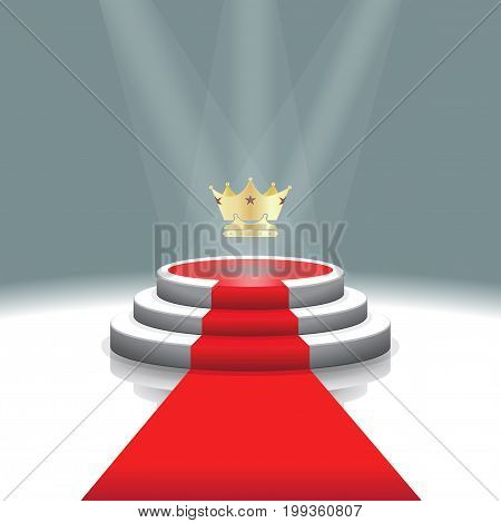 Design template: Illuminated stage podium with crown and red carpet for award ceremony,  Vector illustration