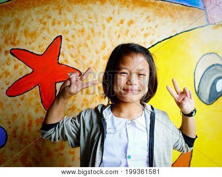 Portrait Of Burmese Girl In Yangon, Myanmar