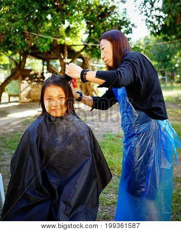 Streets Barber Shop In Yangon, Myanmar