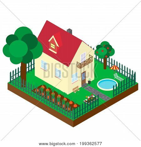 Isometric projection of the private house. The building with a kitchen garden, a garden and the pool. A vector 3D picture on a white background
