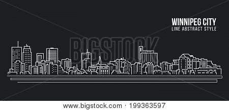 Cityscape Building Line art Vector Illustration design - Winnipeg city