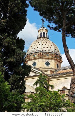 St. Joachim in Prati di Castello (San Gioacchino ai Prati di Castello) view from Fountain of the Caryatids in Rome Italy.