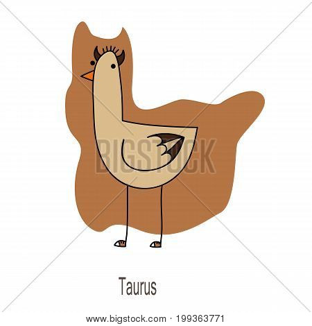 Taurus horoscope sign as a funny duck in shoes with horns on brown background.