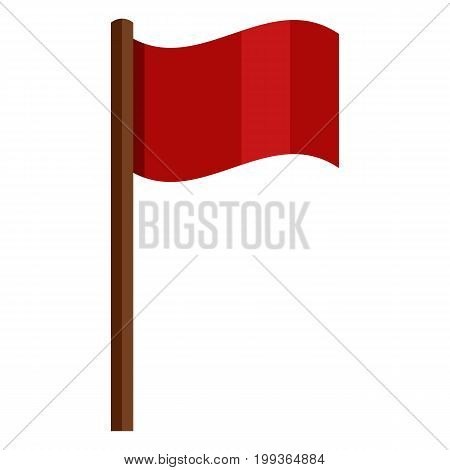 Vector Color Icon - Red Flag On Brown Wodden Flagpole