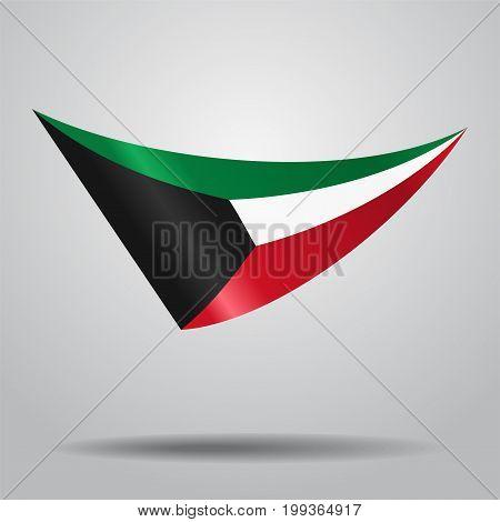 Kuwaiti flag wavy abstract background. Vector illustration.
