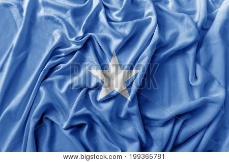 Ruffled waving Somalia flag national flag close