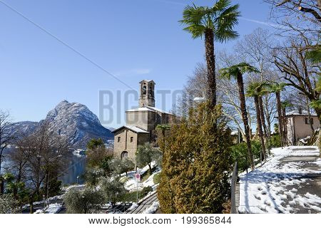 View To The Bay Of Lugano And Saint Giorgio Church