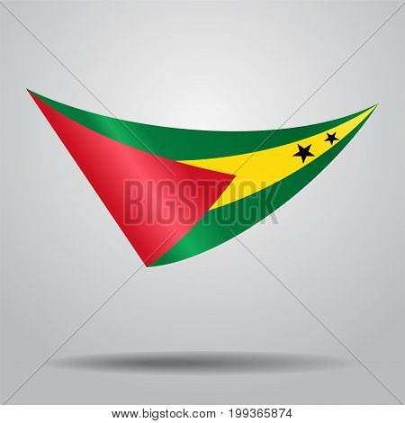 Sao Tome and Principe flag wavy abstract background. Vector illustration.