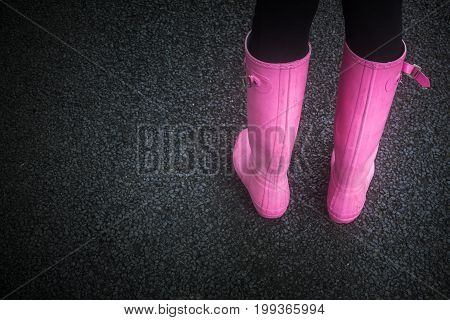 Pink Rubber Boots With Copy Space