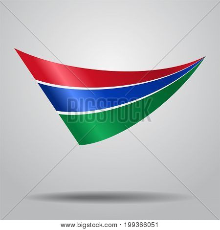 Gambian flag wavy abstract background. Vector illustration.