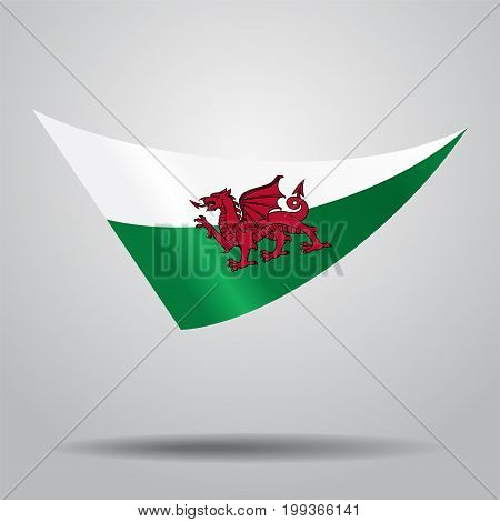 Welsh flag wavy abstract background. Vector illustration.