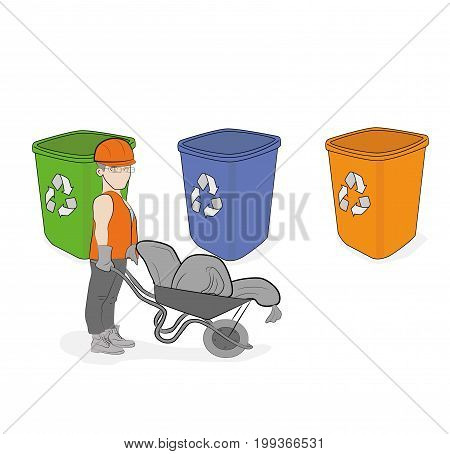 men throw garbage sorting it. Building debris in different tanks. vector illustration.