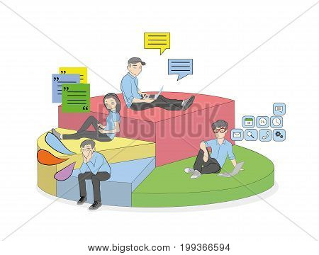Segments in a pie chart. Percentage of people who use mobile devices for communication and work. vector illustration.