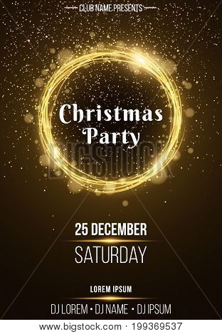 Background vertical poster for a Christmas party. Shining golden banner with golden dust. Abstract yellow lights. Festive poster. DJ and club name. Vector illustration