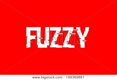 fuzzy text concept red white background vector creative design template modern poster