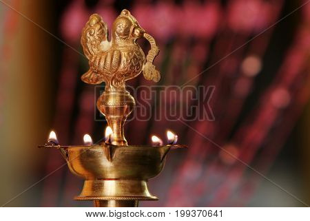 Indian Traditional Silver Oil Lamp with Flame