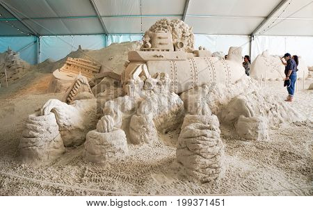 Sand Sculptures at Pier 60 Sugar Sand Festival, Florida at Clearwater Beach, Florida, April 23, 2017.