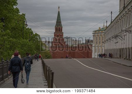 People visiting Moscow Kremlin museum Russia June 2017