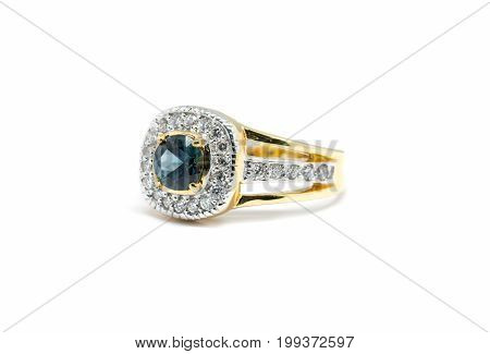 Blue Sapphire  With White Diamond And Gold Ring