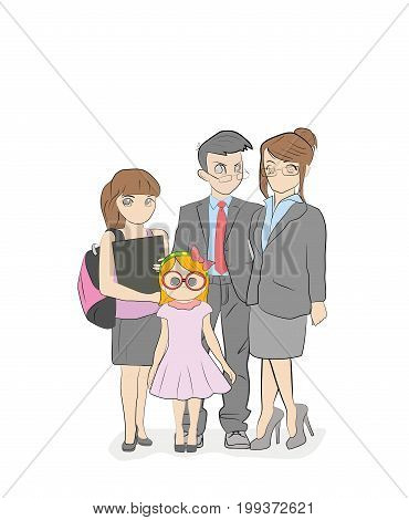 Cool vector flat design illustration on modern family. Parents standing with children. Mother, father, siblings. Teenage girl, toddler girl standing together. Happy family characters