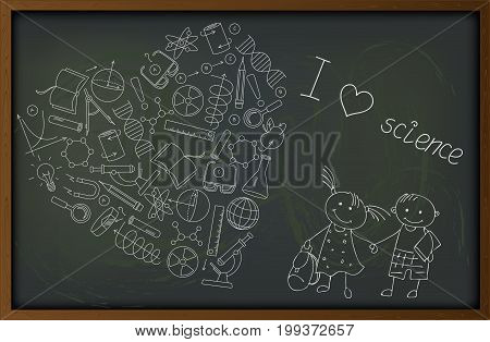 Illustration on the theme of school and science the contour of icons on the topic of the exact Sciences in the shape of a heart on the blackboard a boy m the girl pupils and the words I love science