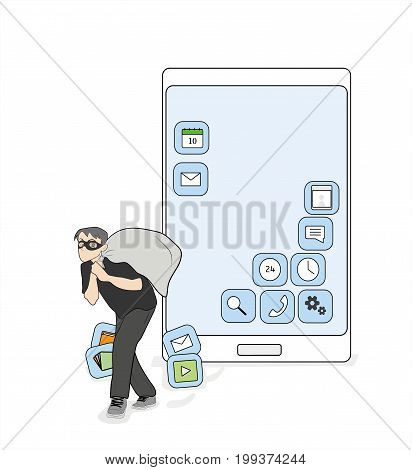 A person steals from a smartphone application. vector illustration.