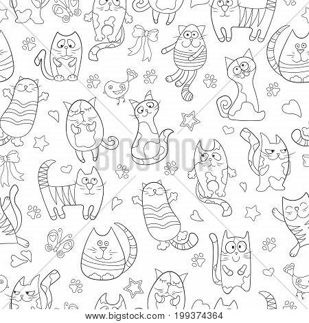 Seamless pattern with contour images cartoon cats black contour on white background