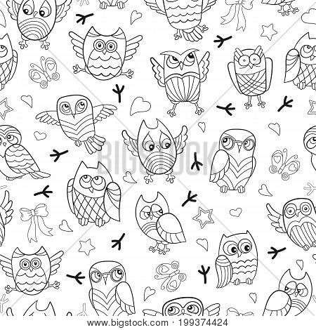 Seamless pattern with contour images of cartoon owls dark outline on a white background