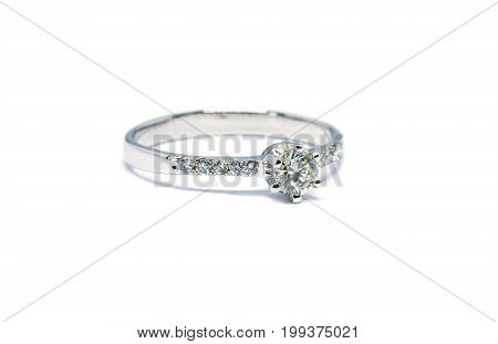 Beautiful Platinum Ring With Diamond Isolated