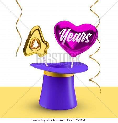 Four Years anniversary vector banner with magic hat balloon number 4 and heart for congratulations.