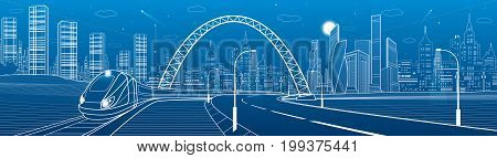 Infrastructure transportation panoramic. Train rides under bridge. Towers and skyscrapers. Urban scene, modern city on background, industrial architecture. White lines, vector design art