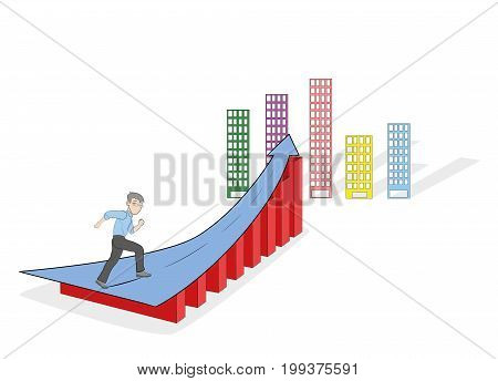 Businessman running up the arrow going into the sky. The concept of success in business. Vector illustration