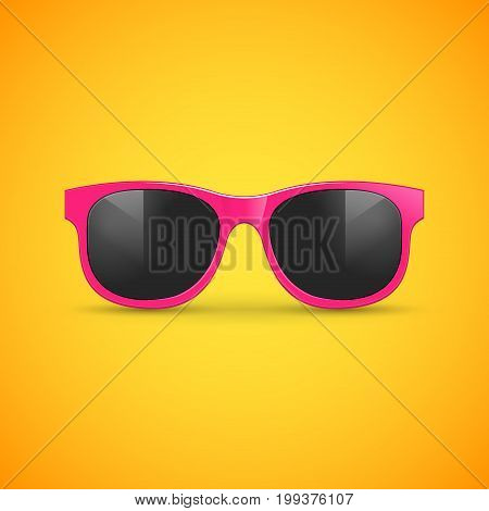 Vector sunglasses on yellow. Eyeglasses hipster fashion illustration for summer.