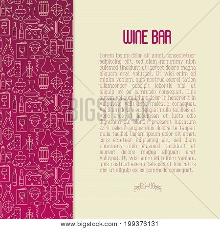 Wine bar concept for restaurant menu of natural alcohol drinks. Vector illustration with thin line icons related with wine making and winery.