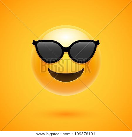 Happy emoji smile in sunglass. Yellow round emoticon cartoon character isolated illustration.