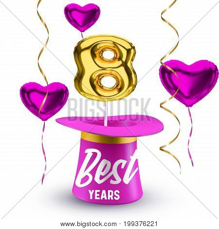 Pink flying hearts and magic hat with golden balloon vector number 8 isolated on white background. Eight-year anniversary poster design concept.