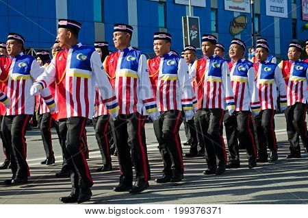 Kota Kinabalu, Malaysia - August 31, 2016: Malaysian From Sabah Borneo Participate In Marching Parad