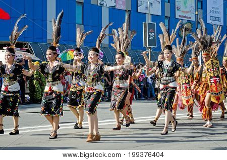 Kota Kinabalu, Malaysia - August 31, 2016: Indigenous Malaysian From Sabah Borneo In Their Tradition