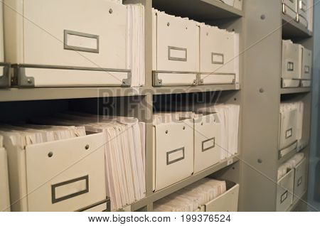 Registry Or Archive Of Medical Folders In The Dental Clinic.