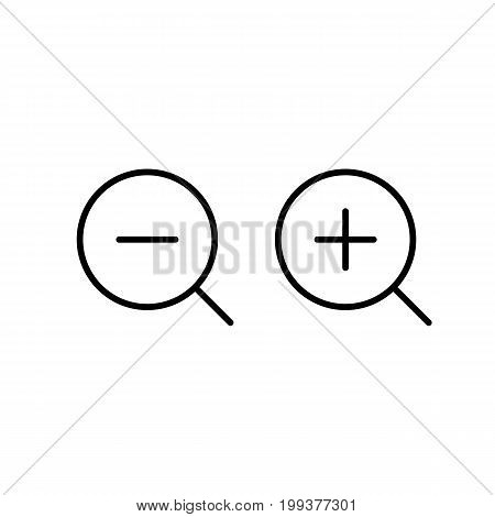 Thin Line Zoom Magnifier Icon On White Background