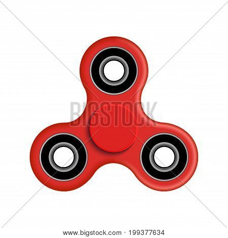 Hand spinner fidget vector illustration. Relaxation hand spinner red device.
