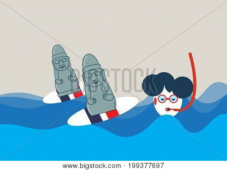 Vector illustration for promotion surfing on Jeju Island. Dol hareubang, known as harubang or Stone Grandfather statue surfing on a surfboard. Haenyeo or Jeju female diver known as Jeju-do Sea Woman.