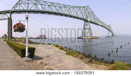 Panoramic view of the Astoria bridge Oregon.