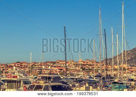 White yachts in the port, Porto-Rotondo, Sardinia, Italy. July 2017.