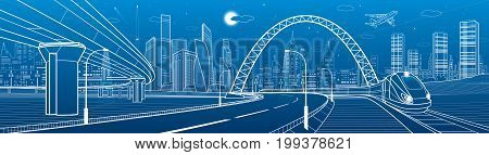 Infrastructure transport panorama. Train rides under bridge. Towers and skyscrapers. Urban scene, modern city on background, industrial architecture. Highway overpass. White lines, vector design art