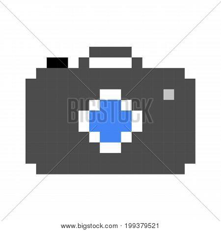 photo camera pixel art cartoon retro game style set