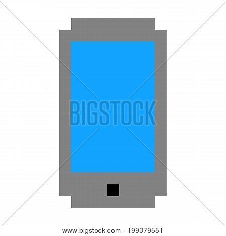Pixel phone mobile cell art cartoon retro game style set