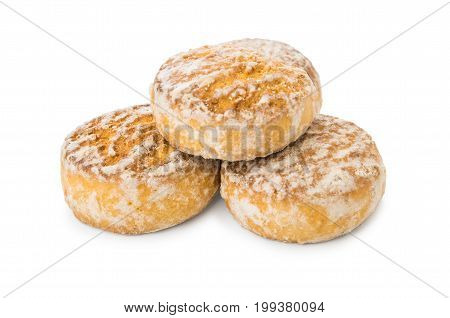Glazed honey -cake isolated on white background