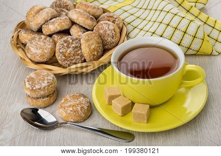 Honey-cake In Wicker Basket, Cup Of Tea, Sugar